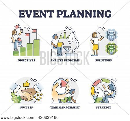 Event Planning Or Marketing Strategies Development Process Outline Collection. Mini Scenes With Adve