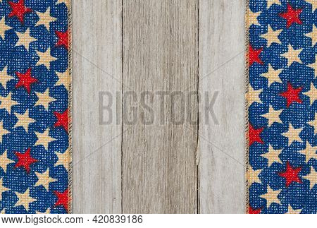 Retro American Patriotic Background With Grunge Usa Stars Banner On Weathered Wood With Copy Space F