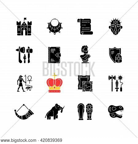 Heritage And Museum Black Glyph Icons Set On White Space. Medieval Times. Excavated Treasure. Middle