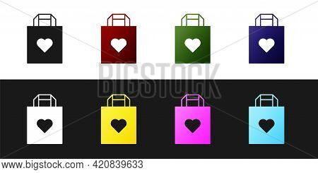 Set Shopping Bag With Heart Icon Isolated On Black And White Background. Shopping Bag Shop Love Like