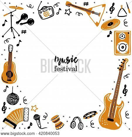 Hand-drawn Banner Template With A Musical Instrument, Guitar, Accordion. Doodle Sketch Style. Vector
