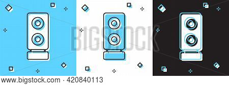 Set Stereo Speaker Icon Isolated On Blue And White, Black Background. Sound System Speakers. Music I