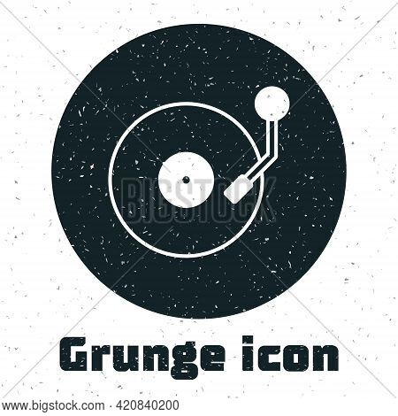 Grunge Vinyl Player With A Vinyl Disk Icon Isolated On White Background. Monochrome Vintage Drawing.