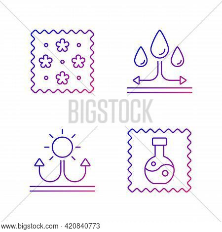Fabric Features Gradient Linear Vector Icons Set. Print On Textile. Water Repellent. Fabric With Ref
