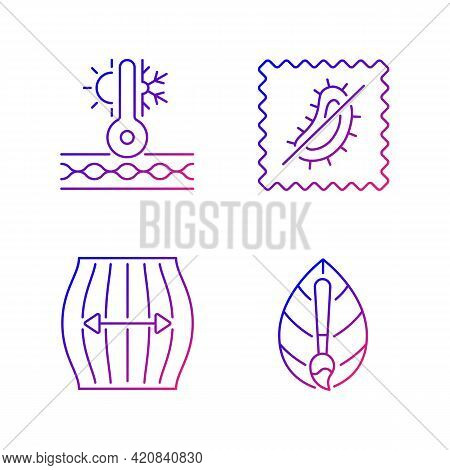 Different Fabric Features Gradient Linear Vector Icons Set. Stretching Fiber. Thermal Insulated, Ant