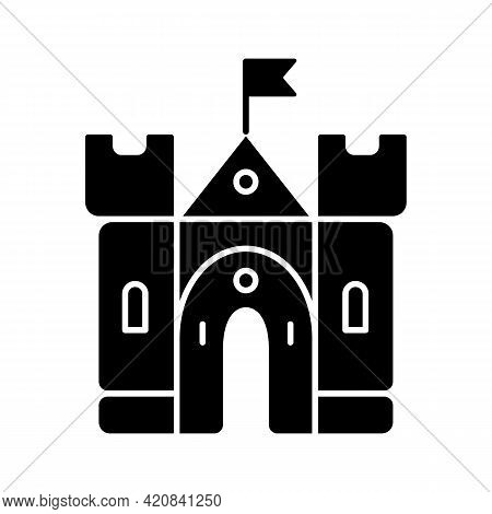Medieval Castle Black Glyph Icon. Historic Building. Fortress, Palace. Housing And Fortification. Mi