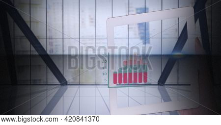 Composition of data processing and woman holding tablet. business and digital interface concept digitally generated image.