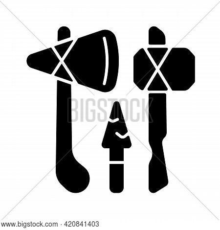 Stone Age Weapons Black Glyph Icon. Hand Axes, Scrapers. Hunting, Cutting Up Meat. Spears And Arrows