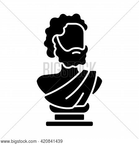 Ancient Statue Black Glyph Icon. Art History. Ancient Greek Sculpture. Depicting Realistic Human For