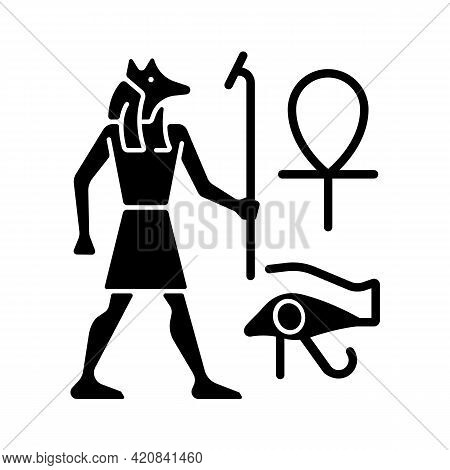 Egyptian Wall Drawings Black Glyph Icon. Mural Painting. Walls Decoration With Reliefs. Depicting An