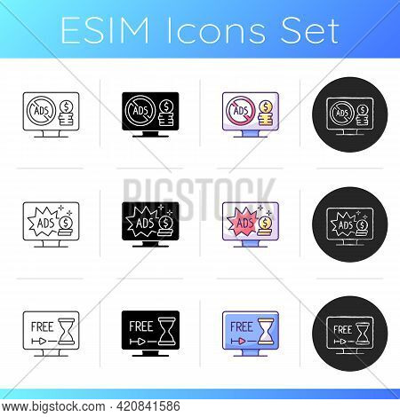 Broadcast Services Icons Set. Ad-free Subscription Plan. Watching Tv With Commercials. Limited, Seve