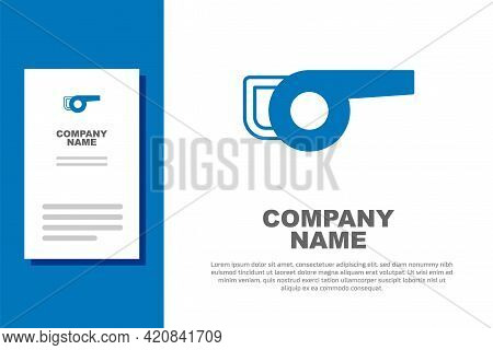Blue Leaf Garden Blower Icon Isolated On White Background. Logo Design Template Element. Vector