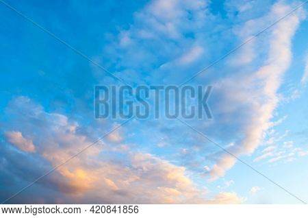 Sunset sky background, picturesque vast sky landscape panoramic scene with dramatic clouds.Sky landscape.Sky background.Dramatic blue sky background,scenic sky landscape,sky panoramic scene,sunny blue sky, sky landscape,blue sky view