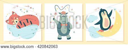 Set Of Cute Nursery Vector Illustration In Cartoon Style. Penguin Rides On The Moon; Red Panda Sleep