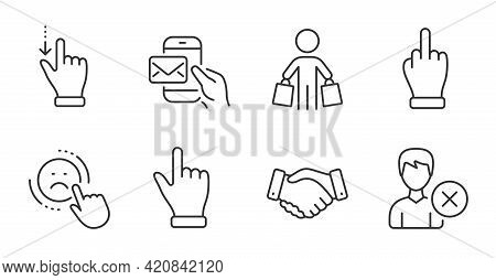 Dislike, Touchscreen Gesture And Messenger Mail Line Icons Set. Click Hand, Middle Finger And Remove