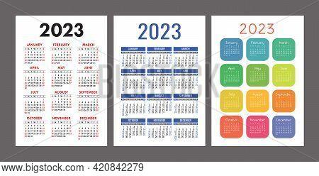 Pocket Calendar 2023. Portrait Orientation. English Colorful Vector Set. Vertical Template. Design C