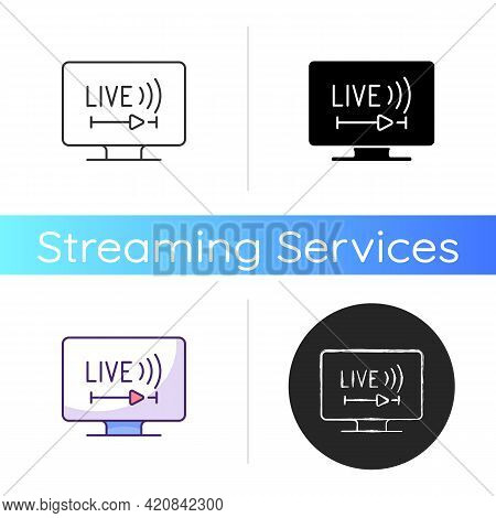 Live Tv Icon. Online Tv Service. Live Television. Programs Broadcasting In Real-time. Streaming Tele