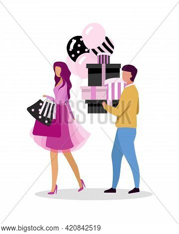 Couple Going Shopping Together Flat Color Vector Faceless Characters. Clothing On Sale. Obsessive Pa