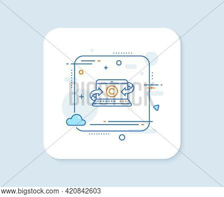 Copywriting Notebook Line Icon. Abstract Square Vector Button. Copyright Sign. Media Content Symbol.