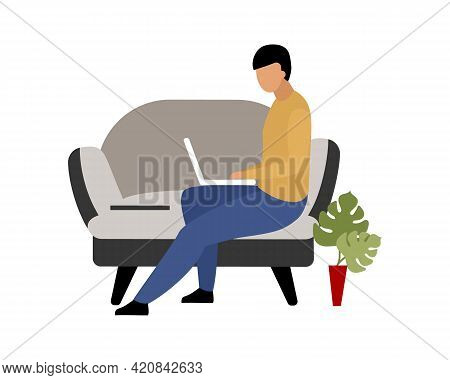 Man Working Remotely At Home Flat Color Vector Faceless Character. Remote Employee. Traditional Offi