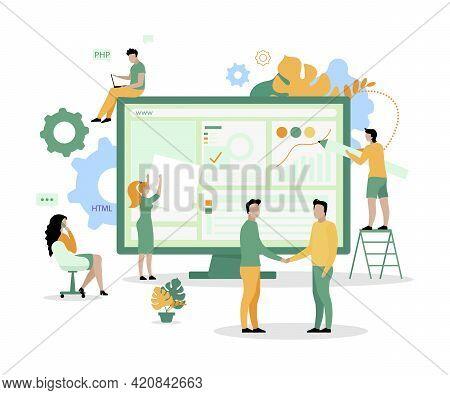 Website Development Squad Flat Concept Vector Illustration. Writing Computer Software 2d Cartoon Cha