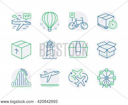 Transportation Icons Set. Included Icon As Package, Package Box, Vip Flight Signs. Lighthouse, Rolle