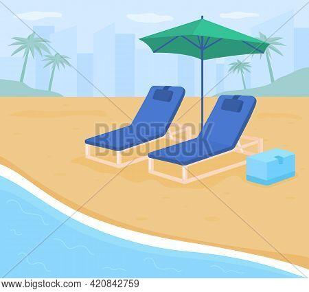 Folding Chairs On Sand Beach Flat Color Vector Illustration. Seashore During Summertime. Family-frie