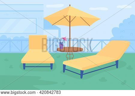Relaxing Retreat In Courtyard Flat Color Vector Illustration. Outdoor Patio With Umbrella Folding Lo