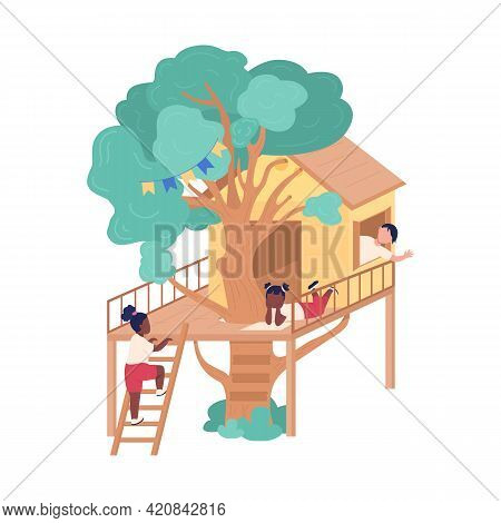 Hanging Out With Friends In Tree Fort Flat Color Vector Illustration. Addition To Garden, House. Sum