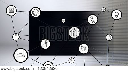 Composition of network of connections with icons over computer monitor. global business, networking and digital interface concept digitally generated image.