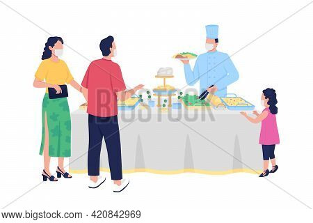 Buffet-style Reception Flat Color Vector Faceless Characters. Self-service. All-you-can-eat Dinner.