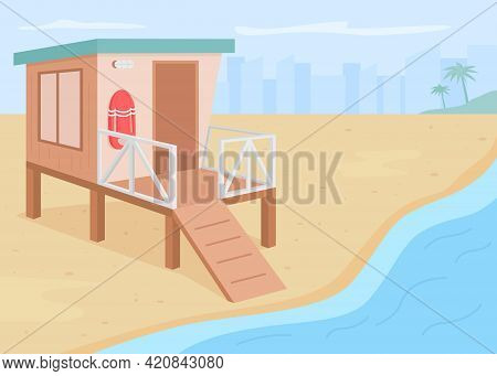 Lifeguard Tower Flat Color Vector Illustration. Summer Vacation Resort. Rescuer Place. Life Guard Ho