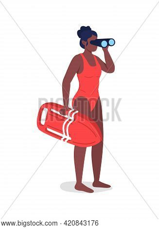 Lifeguard Looking In Binoculars Flat Color Vector Faceless Character. African American Woman In Swim