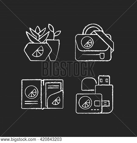 Company Branding Materials Chalk White Icons Set On Black Background. Branded Smart Devices For Stor