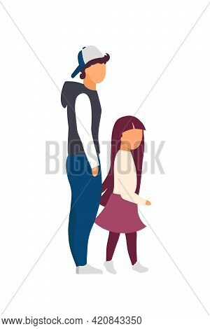 Sibling Walking Together Flat Color Vector Faceless Characters. Family Relationship. Teenager Brothe