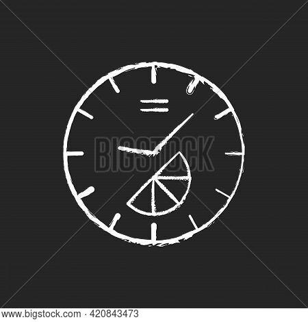 Branded Clock Chalk White Icon On Black Background. Modern Designed House Decor. Make Home Look Styl
