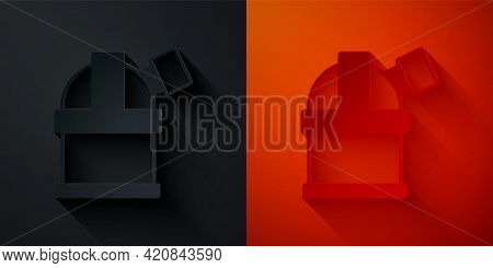 Paper Cut Astronomical Observatory Icon Isolated On Black And Red Background. Observatory With A Tel