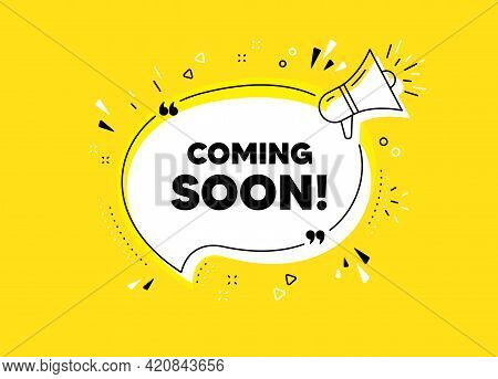 Coming Soon. Megaphone Yellow Vector Banner. Promotion Banner Sign. New Product Release Symbol. Thou