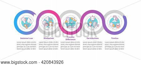 Common Ear States Vector Infographic Template. Swimmer Ear, Tinnitus Presentation Design Elements. D