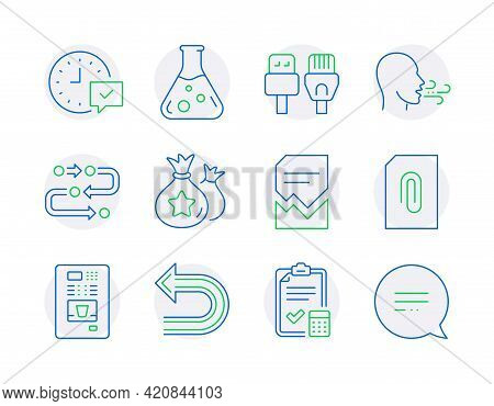Technology Icons Set. Included Icon As Breathing Exercise, Attachment, Computer Cables Signs. Loyalt