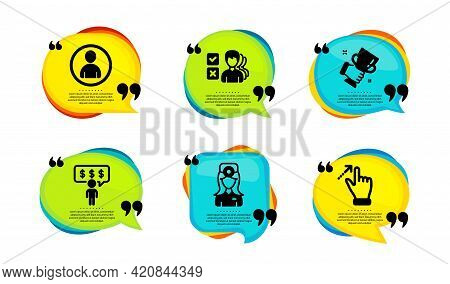 Oculist Doctor, Winner Cup And Avatar Icons Simple Set. Speech Bubble With Quotes. Employee Benefits