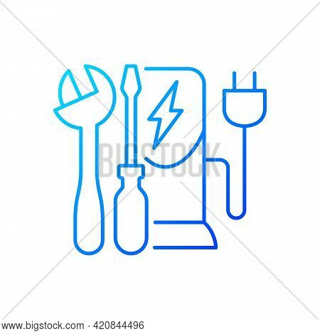 Charging Station Maintenance Gradient Linear Vector Icon. Fixing Electronic Vehicle Charging Place.
