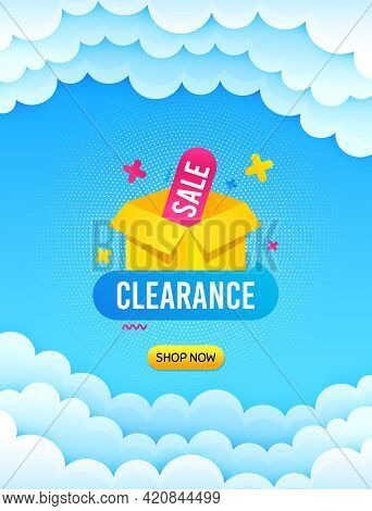 Clearance Sale Banner. Cloud Sky Background With Offer Message. Discount Sticker Box. Special Offer