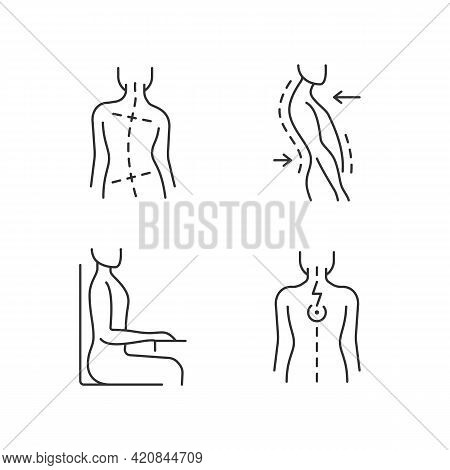Bad Posture Problems Linear Icons Set. Uneven Hips And Shoulders. Swayback Posture. Muscle Spasms. C