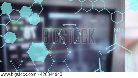 Composition of medical data and chemical compounds over out of focus hospital monitor. global science, medicine, digital interface and data processing concept digitally generated image