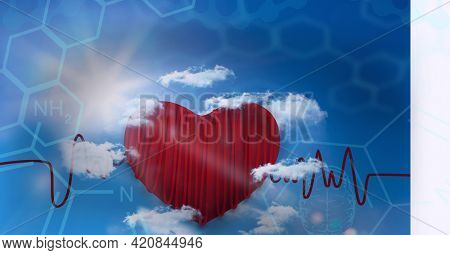 Composition of medical data and chemical compounds over red heart. global science, medicine, digital interface and data processing concept digitally generated image