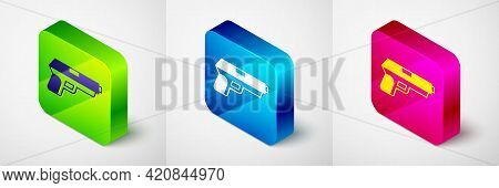 Isometric Pistol Or Gun Icon Isolated On Grey Background. Police Or Military Handgun. Small Firearm.