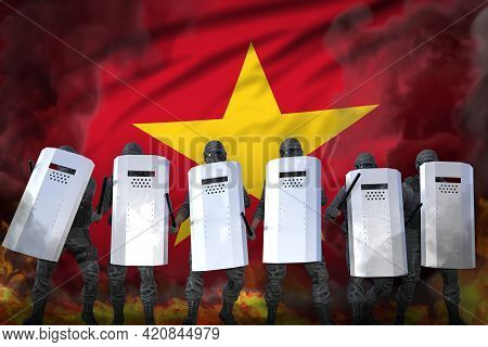 Vietnam Police Guards In Heavy Smoke And Fire Protecting Government Against Revolt - Protest Stoppin