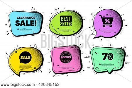 Clearance Sale Symbol. Speech Bubble With Dotwork Vector. Special Offer Price Sign. Advertising Disc