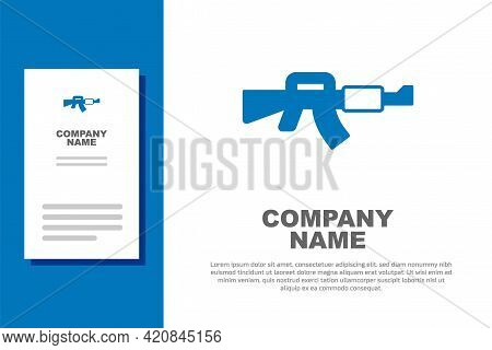 Blue M16a1 Rifle Icon Isolated On White Background. Us Army M16 Rifle. Logo Design Template Element.